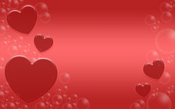 Romantic background with red hearts. Stock Photography