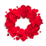 Romantic background, red paper hearts, Valentine`s day, vector   Stock Photo
