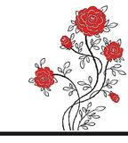 Romantic background with red roses. Vector Illustration Stock Images