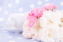 Romantic background with rose. Romantic vintage background with rose and cafe cup Stock Photography