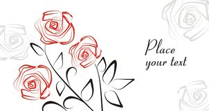 Romantic background with roses. Vector drawing of the greeting card with hand-drawn roses Stock Photography