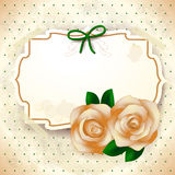 Romantic background with roses and label Royalty Free Stock Images