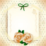Romantic background with roses and paper Royalty Free Stock Images