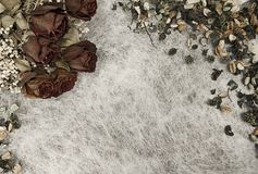 Romantic background in soft autumn colors with dried roses and pot pourri on white rice paper. Romantic background in soft autumn colors with dried roses and pot royalty free stock image