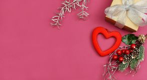 Romantic romantic background with space for valentine`s day. NRomantic romantic background with space for valentine`s day in february with heart decor branch and stock images