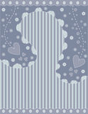 Romantic background with stripes, hearts and flowers Royalty Free Stock Photos