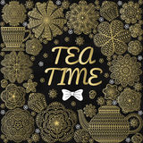 Romantic background with teapot, cup, muffins, flowers. Tea branding design in gold, black and white colors Stock Photo