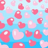 Romantic background of pink hearts stock illustration