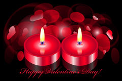 Romantic background with two candles Stock Photography