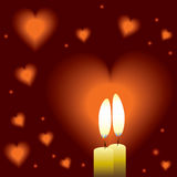Romantic background with two candles and hearts Stock Photos