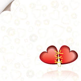 Romantic background with two connected red hearts Stock Image