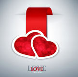 Romantic  background with two red hearts Stock Photo