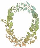 Romantic background with wild flower wreath Royalty Free Stock Images