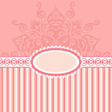 Romantic Background With Pattern And Label. Pink Royalty Free Stock Photography