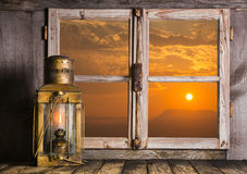 Romantic background of wood with sunrise decorated with an old c Stock Photo