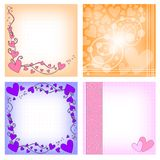 Romantic backgrounds with hearts. Romantic background collection with heart, curls and dots  over white background royalty free illustration