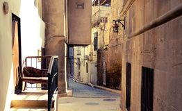 Romantic Baku White City architecture. Old city street Stock Photos