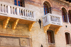 Romantic balconies. Antique palace with balconies of renaissance age in forli - italy Stock Images