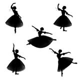 Romantic Ballerina Silhouettes. Silhouettes of a ballerina in a romantic style tutu on a white background in various ballet poses Stock Images