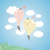 Romantic balloons in the sky with clouds. Love vector illustration for the Valentine`s day Royalty Free Stock Photography