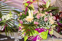 Romantic basket with  pink  roses Royalty Free Stock Image