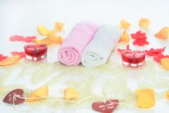 Romantic bath accesories. Romantic bath accessories with red heart candle Royalty Free Stock Photography