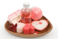 Romantic bath set. Bath set for romantic rose scented bath Royalty Free Stock Photos