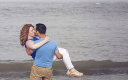 Romantic beach couple Stock Photo