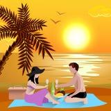 Romantic Beach Date Background Stock Photo