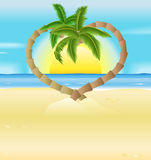 Romantic beach, heart palm trees illustration Royalty Free Stock Photo