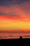 Romantic beach sunset Royalty Free Stock Photo