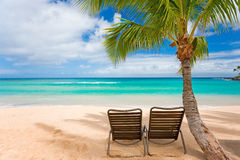Romantic beach two chairs. Tropical beach with palm tree and two chairs Stock Image