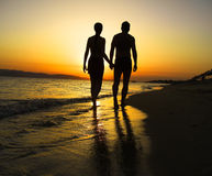 Romantic Beach Walk. Couple make a romantic Beach Walk Royalty Free Stock Image