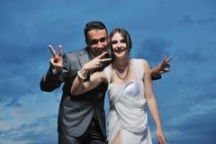 Romantic beach wedding at night Royalty Free Stock Photos