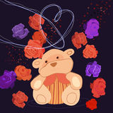 Romantic Bear. The illustration of romantic teddy bear . Vector image Stock Images