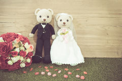 Romantic Bear on vintage retro color tone Royalty Free Stock Images