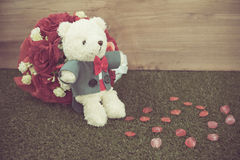 Romantic Bear on vintage retro color tone Royalty Free Stock Photos