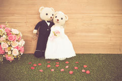 Romantic Bear on vintage retro color tone Royalty Free Stock Image