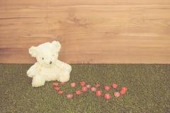 Romantic Bear on vintage retro color tone Stock Photography