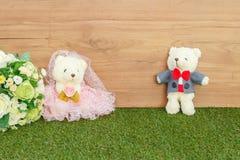 Romantic Bear on vintage retro color tone Stock Photos