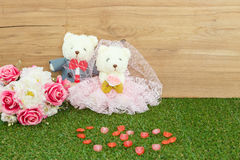 Romantic Bear on vintage retro color tone Royalty Free Stock Photography