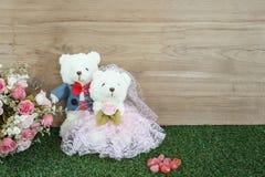 Romantic Bear on wedding Scene Stock Images