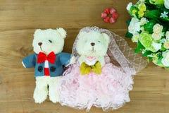 Romantic Bear on wedding Scene Stock Image