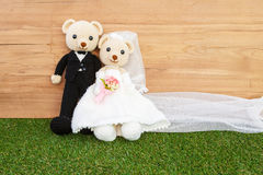 Romantic Bear on wedding Scene Stock Photo