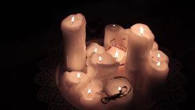 Romantic and beautiful candles stock video