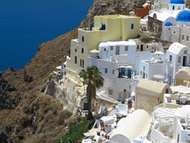 Romantic beautiful cityscape and blue sky of Oia on Santorini in Royalty Free Stock Photos