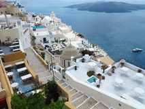 Romantic beautiful cityscape and blue sky of Oia on Santorini in Stock Images