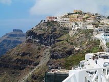 Romantic beautiful cityscape and blue sky of Oia on Santorini in Royalty Free Stock Photo