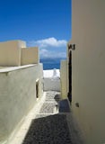 Romantic beautiful cityscape and blue sky of Oia on Santorini in Royalty Free Stock Images