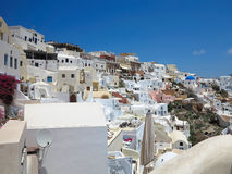 Romantic beautiful cityscape and blue sky of Oia on Santorini in Stock Photography